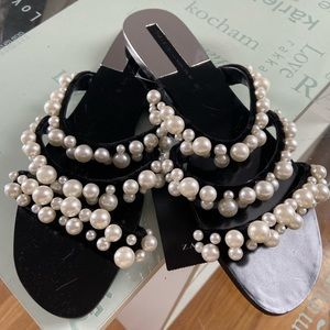 NWT🥰 zara sandal shoes with pearls top seller 7.5